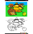 hedgehogs animal characters group color book vector image vector image