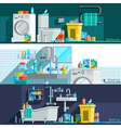 Hygiene Icons Flat Horizontal Banners vector image vector image