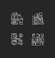 meal delivery orders chalk white icons set vector image vector image