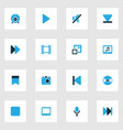 multimedia icons colored set with play tablet vector image vector image