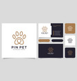 paw location or pet pin logo design and business vector image