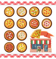 pizza flat icons isolated on white vector image