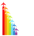 rainbow airplanes vector image vector image