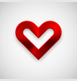 red abstract heart sign with metal texture vector image vector image