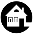 Round home icon with chimney and window vector image