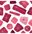 seamless pattern of various gifts vector image vector image