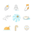 set christmas icons vector image
