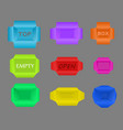 set of boxes different color and sizes for your vector image vector image