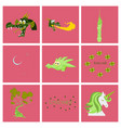 set of cartoon objects cartoon dragons castle vector image vector image