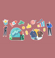 set stickers business prediction forecast vector image