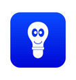 smiling light bulb with eyes icon digital blue vector image
