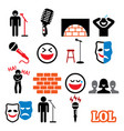stand up comedy entertainment comedians and peop vector image