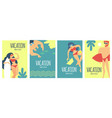 summer vacation poster set with relaxing people on vector image vector image