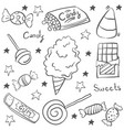 sweet candy sketch doodle style vector image