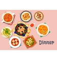 Tasty soup and salad icon for lunch menu design vector image vector image