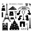travel paris icon set famous places france vector image