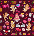 valentine day love hearts cupids seamless pattern vector image vector image
