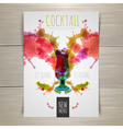 Watercolor cocktail poster vector image