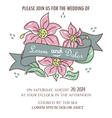 wedding invitation with ribbon and flowers vector image