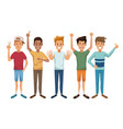 white background with colorful male group vector image vector image