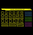 yellow highlight marker square frame set vector image
