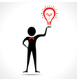 Man holding a bulb -haveing an idea vector image