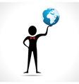 Man holding a globe vector image