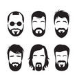 set of bearded hipster men faces vector image