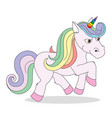 a funny unicorn character flat vector image vector image