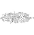 a sense of responsibility text word cloud concept vector image vector image