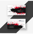 abstract ink splash red black business card design vector image vector image