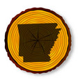 arkansas map on timber end section vector image vector image