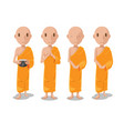 asia monk character isolate set vector image
