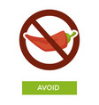 avoid spicy food medical advice crossed chili vector image vector image