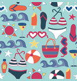 beach icons flat seamless background tile vector image