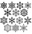 black silhouette snowflake shapes vector image vector image