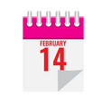 calendar icon with spiral showing 14 february vector image