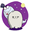Cartoon Character Happy Ghost Behind The Tombstone vector image vector image