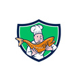 Chef Cook Holding Trout Fish Shield Cartoon vector image vector image