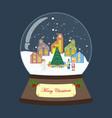 christmas snow globe with houses and christmas vector image