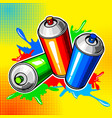 colorful paint cans comic book style vector image