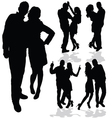 couple man and woman in love black silhouette vector image vector image