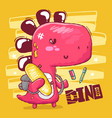 dino with skateboards and school supplies vector image vector image