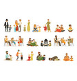 flat people characters different vector image