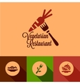 flat vegetarian restaurant icons vector image vector image