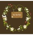 Floral Frame Vintage Message Wood Card Spring vector image vector image