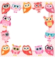 frame with funny owls vector image vector image