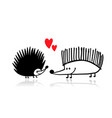 funny hedgehogs in love black silhouette for your vector image vector image