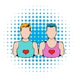 Gay couple icon comics style vector image vector image