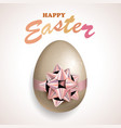 happy easter egg with bow vector image vector image